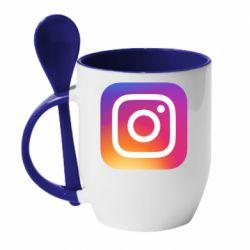 Кружка з керамічною ложкою Instagram Logo Gradient
