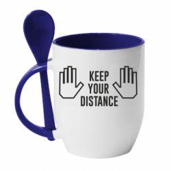 Кружка з керамічною ложкою Keep your distance