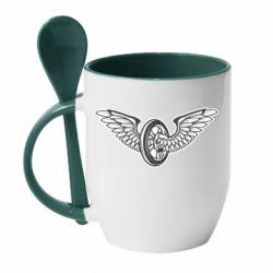 Кружка з керамічною ложкою Колесо та крила