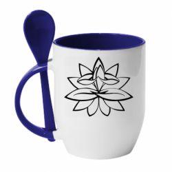 Кружка з керамічною ложкою Lotus yoga