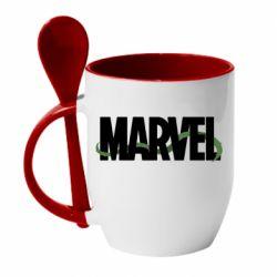 Кружка с керамической ложкой Marvel logo and vine