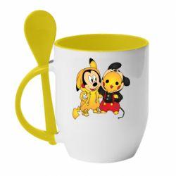 Кружка с керамической ложкой Mickey and Pikachu