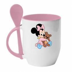 Кружка з керамічною ложкою Minnie And Bear
