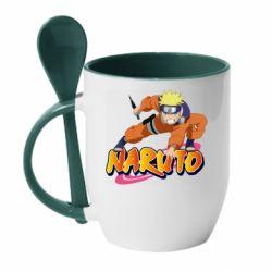 Кружка з керамічною ложкою Naruto with logo
