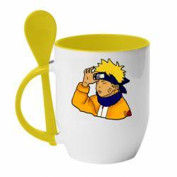 Кружка с керамической ложкой Narutooo