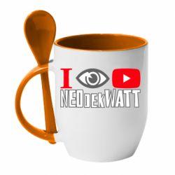 Кружка з керамічною ложкою I Watch NEOdekWATT