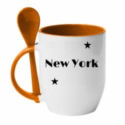 Кружка с керамической ложкой New York and stars
