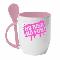 Кружка з керамічною ложкою No Risk No Fun