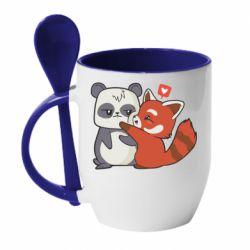 Кружка з керамічною ложкою Panda and fire panda