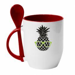 Кружка с керамической ложкой Pineapple with glasses