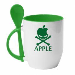 Кружка с керамической ложкой Pirate Apple