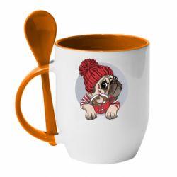 Кружка з керамічною ложкою Pug And Coffee