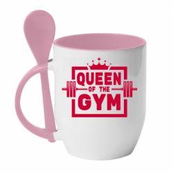 Кружка з керамічною ложкою Queen Of The Gym