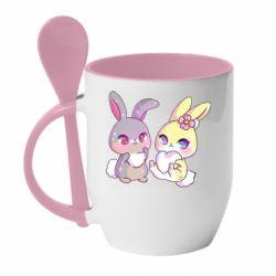 Кружка з керамічною ложкою Rabbits In Love