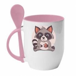 Кружка з керамічною ложкою Raccoon with cookies