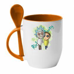 Кружка з керамічною ложкою Rick and Morty voodoo doll