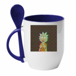 Кружка с керамической ложкой Rick Fck Hologram