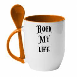 Кружка с керамической ложкой Rock my life
