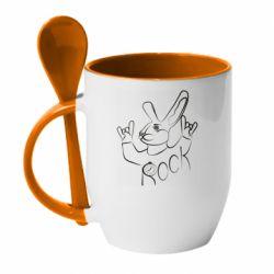 Кружка з керамічною ложкою Rock rabbit