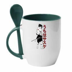 Кружка з керамічною ложкою Sasuke Art