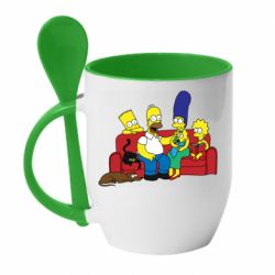 Кружка с керамической ложкой Simpsons At Home