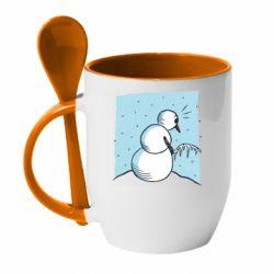 Кружка з керамічною ложкою Snowman. It's Cold!