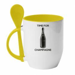 Кружка з керамічною ложкою Time for champagne