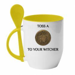Кружка з керамічною ложкою Toss a coin to your witcher ( орен )