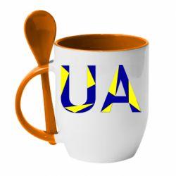 Кружка с керамической ложкой UA Ukraine