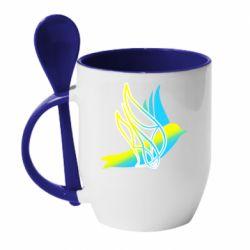 Кружка з керамічною ложкою Україна Ластівка