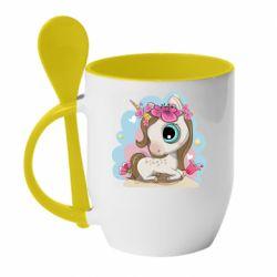 Кружка з керамічною ложкою Unicorn with flowers