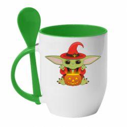 Кружка з керамічною ложкою Yoda conjures