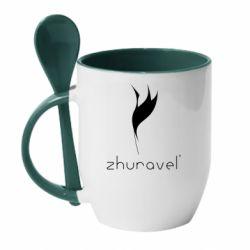 Кружка з керамічною ложкою Zhuravel