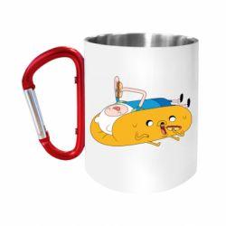 """Кружка с ручкой """"карабин"""" Adventure time 4"""
