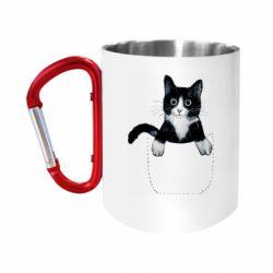 """Кружка с ручкой """"карабин"""" Art cat in your pocket"""