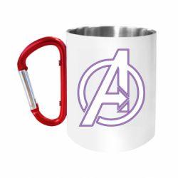 """Кружка с ручкой """"карабин"""" Avengers and simple logo"""