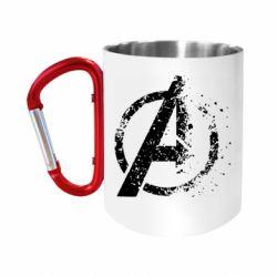 """Кружка с ручкой """"карабин"""" Avengers logotype destruction"""