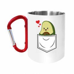 """Кружка с ручкой """"карабин"""" Avocado in your pocket"""