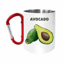 """Кружка с ручкой """"карабин"""" Avocado watercolor"""