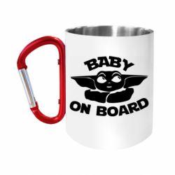"Кружка с ручкой ""карабин"" Baby on board yoda"