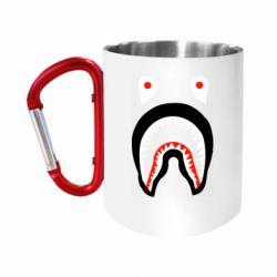 """Кружка с ручкой """"карабин"""" Bape shark logo"""