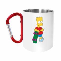Кружка з ручкою-карабіном Bart Simpson