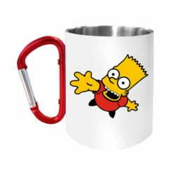 """Кружка с ручкой """"карабин"""" Барт Симпсон"""