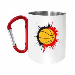 """Кружка с ручкой """"карабин"""" Баскетбольный мяч"""