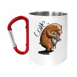 "Кружка с ручкой ""карабин"" Bear hugs a hare"