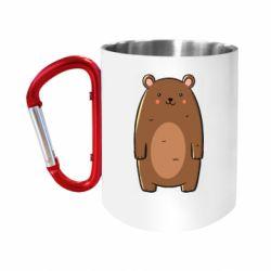 "Кружка с ручкой ""карабин"" Bear with a smile"