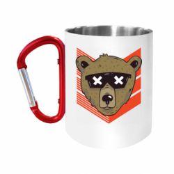 """Кружка с ручкой """"карабин"""" Bear with glasses"""