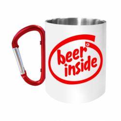 """Кружка с ручкой """"карабин"""" Beer Inside"""
