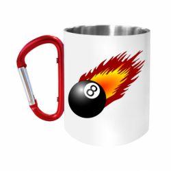 """Кружка с ручкой """"карабин"""" Бильярдный шар в огне"""