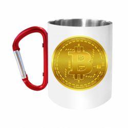 Кружка з ручкою-карабіном Bitcoin coin